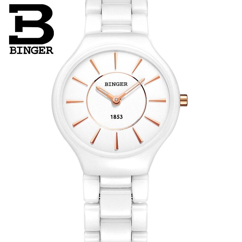 Free Shipping Fashion 2016 Couple BINGER Ceramic Mens Women Dress woman Watches brand Ultrathin Form Gift Watch waterproof 8006M