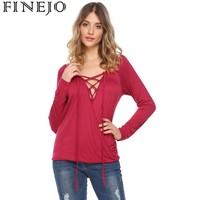 FINEJO Front Deep Crossing V Neck Sexy BlouseTops Women Casual Lace Up Elastic And Asymmetrical Hem