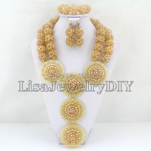 Lisajewelrydiy Store Fashion Crystal Ball Costume Jewellery Nigerian Wedding African Beads Jewelry Set     HD0549