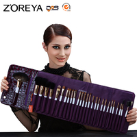 ZOREYA Brand Super Top Quality 28pcs Professional Make Up Brushes With Purple PU Leather Bag As