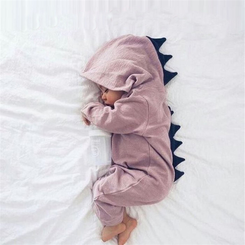 Emmababy для маленьких мальчиков девочек 3D динозавр костюм Твердые Розовый Серый Комбинезоны для малышек теплая весна-осень хлопок комбинезон одежда