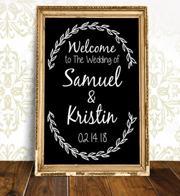 Personalized wedding welcome sign stickers rustic wood wedding decor decal custom name and date vinyl sticker