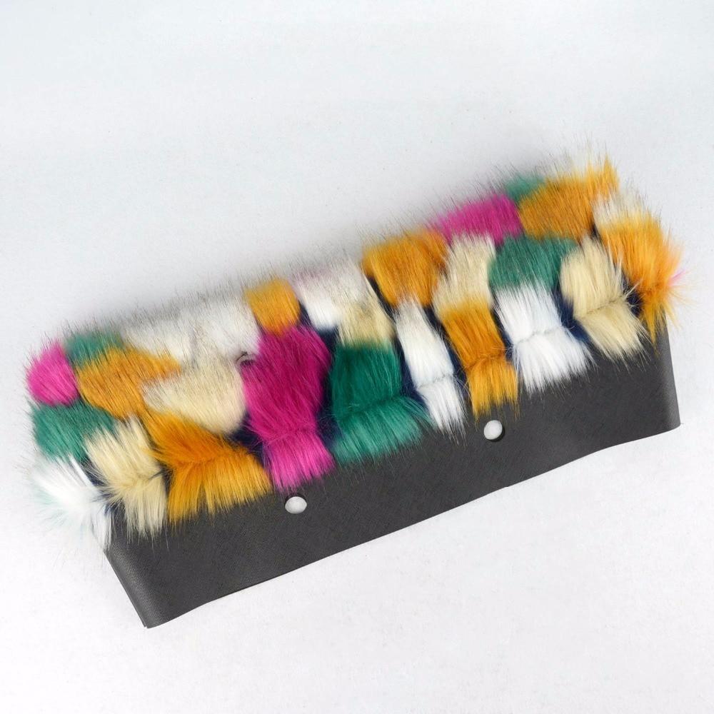 Image 2 - Женская сумка tanqu, разноцветная, с плюшевой обшивкой, с тепловым плюшем, украшением из искусственного меха, подходит для классического большого мини сумкиДетали и аксессуары для сумок   -