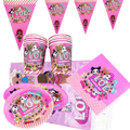 51pcs Dolls lol Theme Disposable Tableware Set Paper Plate Cup Flag Napkins Tablecloth Happy Birthday Party Decoration