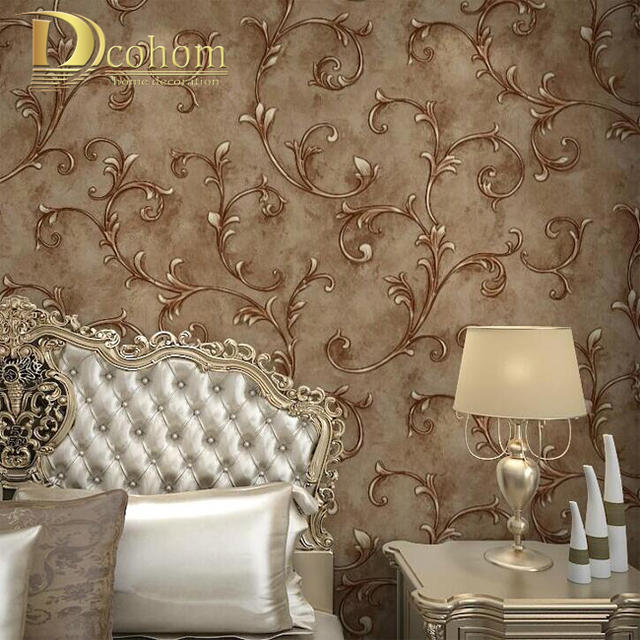 Buy beige brown european vintage leaf embossed textured wallpaper 3d wall Textured wall in living room