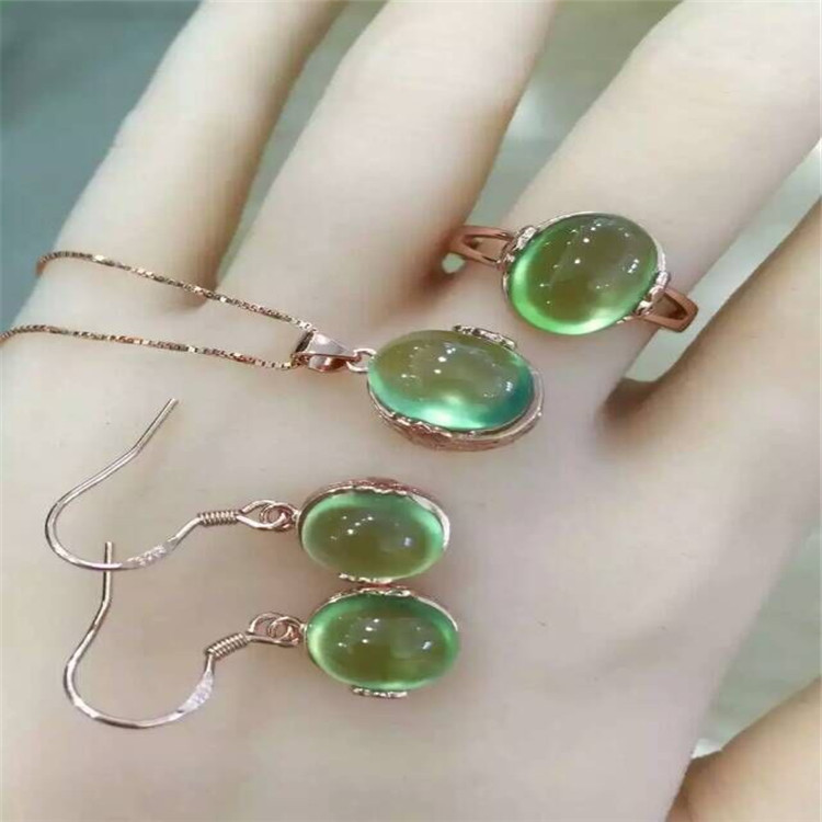 Natural grape Stone Ring Necklace Earrings Set inlaid jewelry wholesale 925 Sterling Silver Inlay pure natural tender grape stone ring set 925 sterling silver inlay