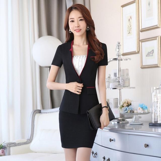 86da8b0bd79a 2016 New Korean Autumn Spring fashion women ruffles skirt suits career OL  blazer & skirt office
