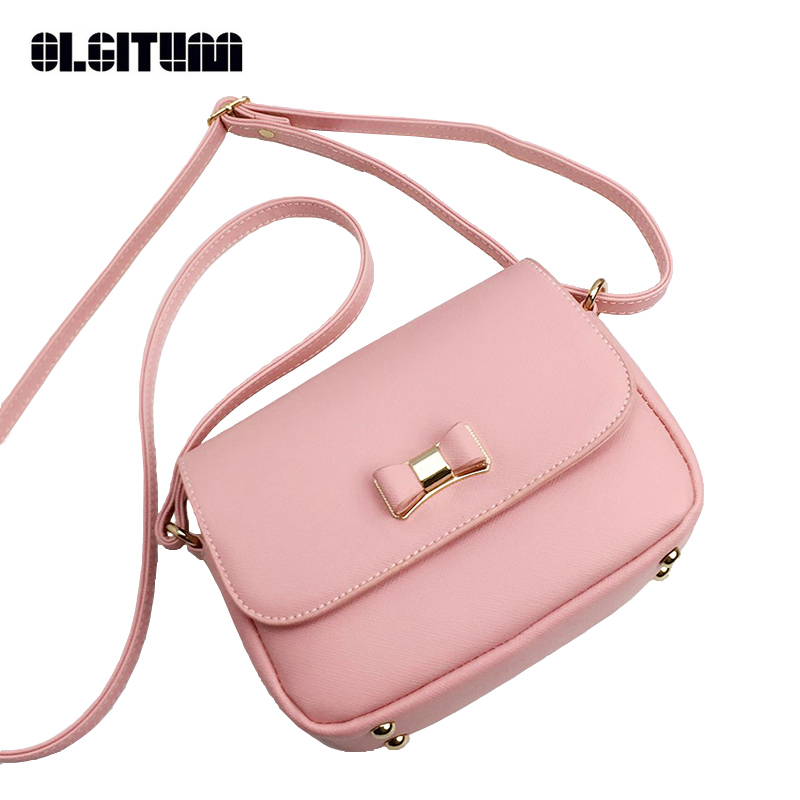 7ec0cca0d4 OLGITUM 2018 New Fashion Bowknot Handbag PU Leather Women s Shoulder  Crossbody Bags Ladies Small Handbags Bags HB250-in Top-Handle Bags from  Luggage   Bags ...