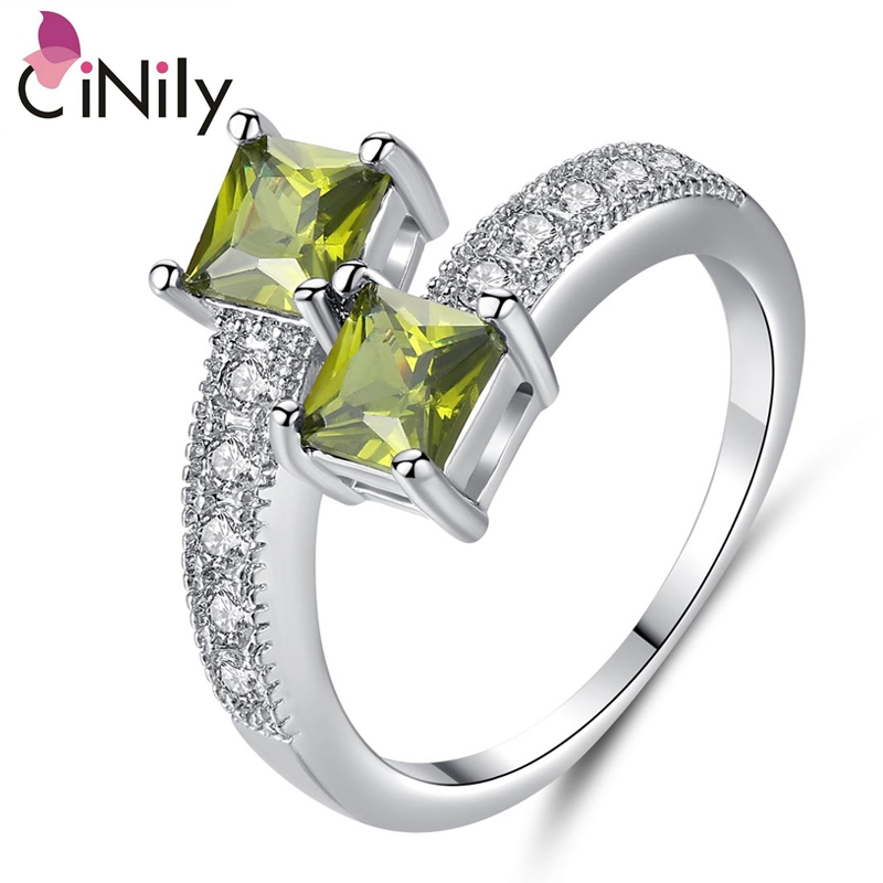 Cinily Jewelry Ring-Size Wedding-Gift Silver-Plated Cubic-Zirconia Fashion Women