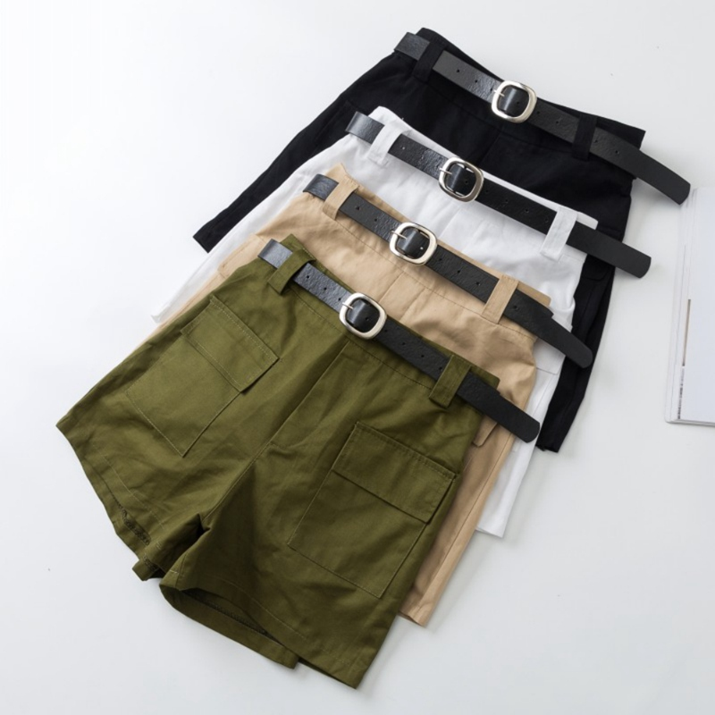 All-match 4 Solid Color Sashes Casual Women Shorts A-line High Waist Slim Summer Shorts Feminino Chic Ladies Bottom