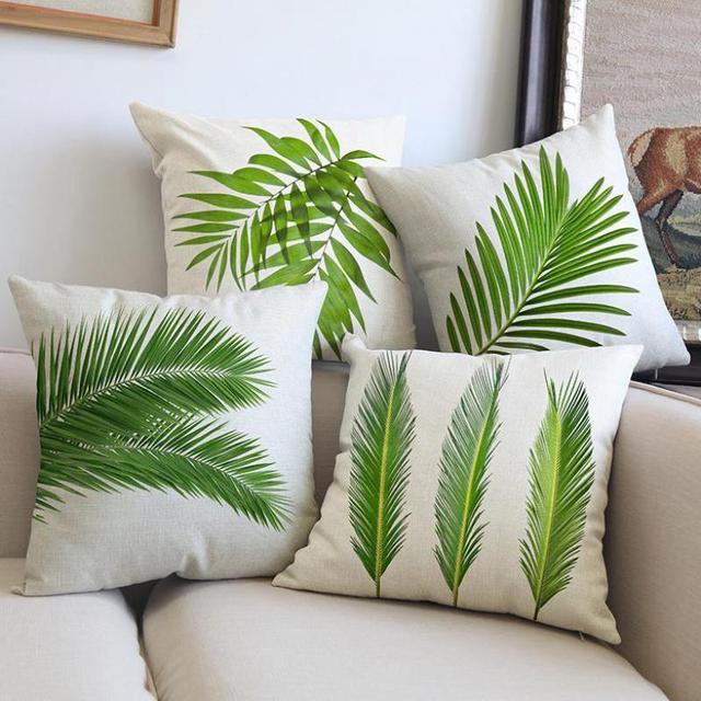 groothandel aangepast nordic stijl tropische groene bladeren serie kussen interieur sofa stoel plant kussen 45 cm