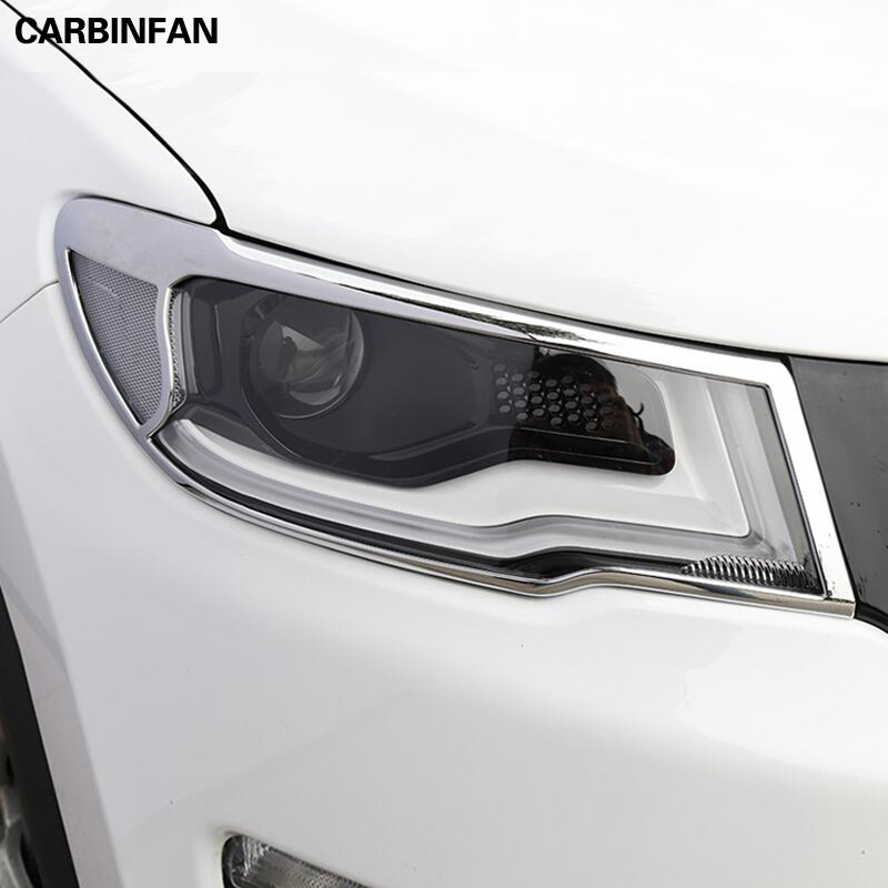 ABS Chrome Car Accessories car front headlights lamps cover decoration Sequins 2pcs lot for Jeep Compass
