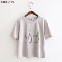 BRUMOSO Summer Women T Shirts 2018 Bottle Plants Pattern Embroidery Casual Harajuku T Shirt Women Tumblr