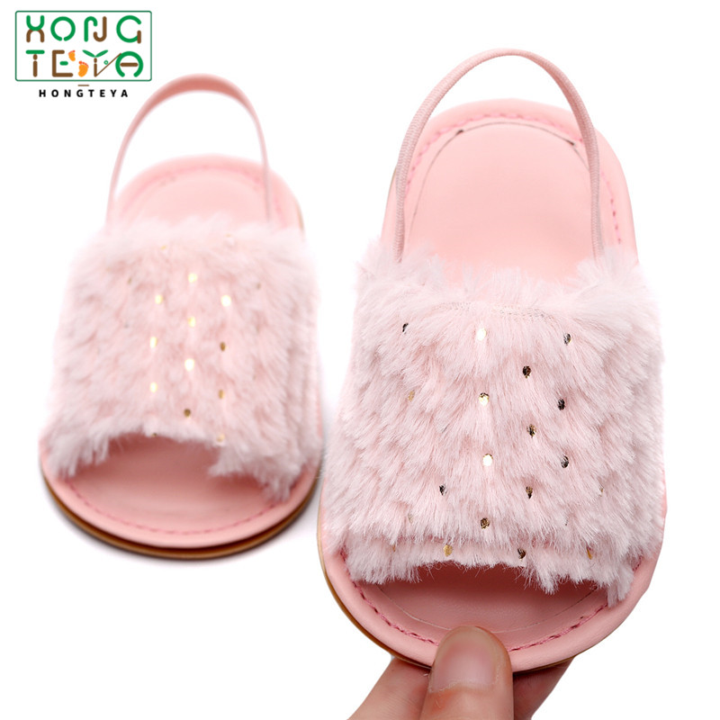 Baby Girl Slipper Sandals Summer Soft Hair Bling Style Breathable Baby Fur Shoes Simple Elastic Sandals Sequin Baby Girl Shoes