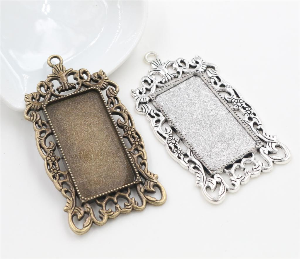 New Fashion 5pcs 19x38mm Inner Size 2 Colors Rectangle Cabochon Base Charms Pendant,Fit  19*38mm Square Glass Cabochons