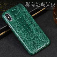 For iPhone 11 11 pro case natural ostrich Genuine Leather protective case for iPhone XR X XS 8 Anti-fall business phone case stylish protective genuine leather case for iphone 4 4s blue white