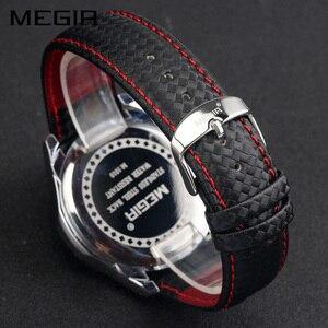 Image 4 - Megir Sport Heren Horloges Top Brand Luxe Quartz Mannen Horloge Mode Toevallige Zwarte Pu Band Klok Mannen Big Dial Erkek saat 1010