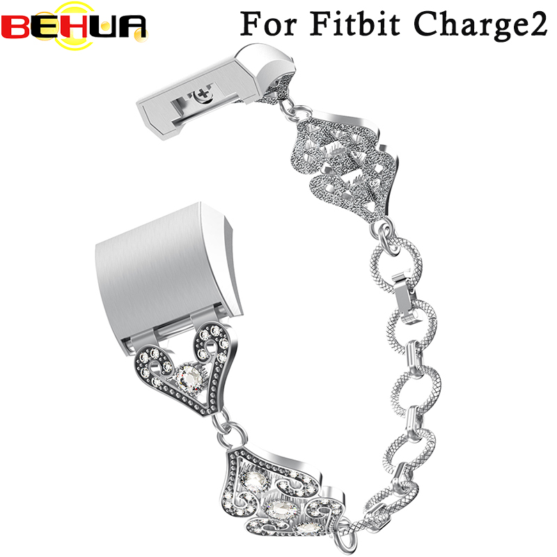 Beauty love watchband with Rhinestones design wrist band for fitbit charge 2 bracelet watch belt fit 135-245mm New