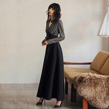 VERRAGEE women V neck Long Vintage dress Grey A-line 2019 Spring Autumn elegant formal Maxi Dress with Pockets