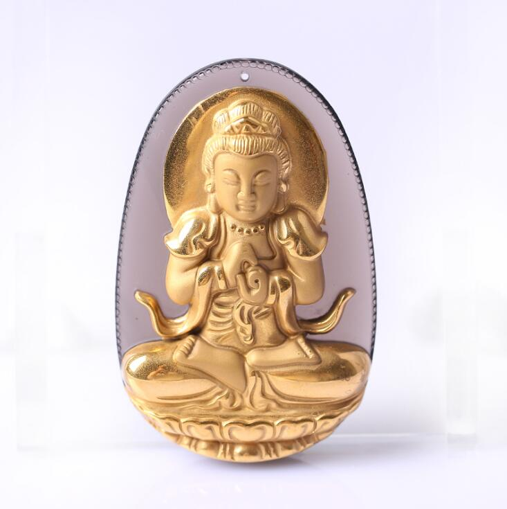 Beautiful Natural Ice Obsidian Carved Gold color Chinese DaRiRuLai Kwan-Yin Lucky Amulet Pendant +free Necklace fashion Jewelry