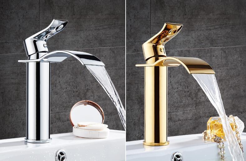 HTB1kMiobQSWBuNjSszdq6zeSpXav Basin Faucet Gold and white Waterfall Faucet Brass Bathroom Faucet Bathroom Basin Faucet Mixer Tap Hot and Cold Sink faucet