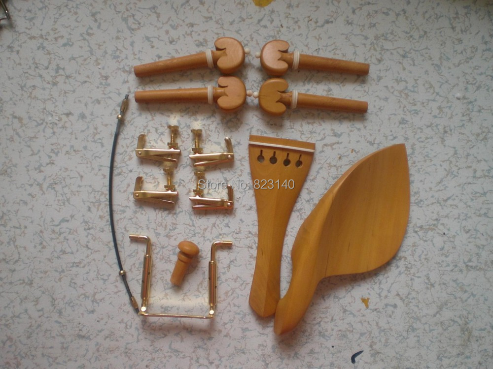 3 Sets BOXWOOD Violin Parts 4/4 with Gold color fine tuner & Chin rest clamp & Tail gut