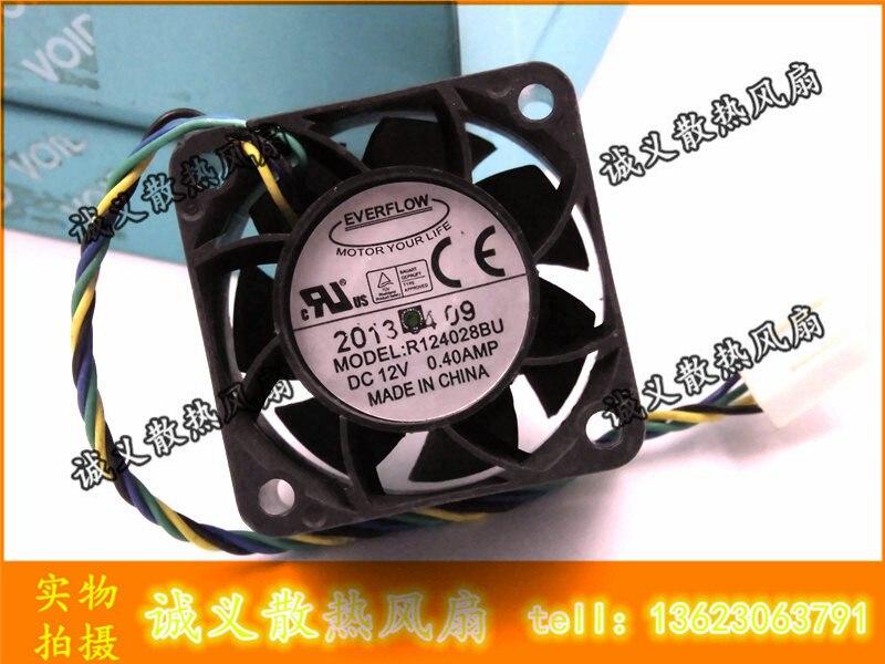 Ball Bearing Cooler Fan EVERFLOW 4028 R124028BU DC 12V 0.40A 4Wire Cooling Fan 40x40x28mm