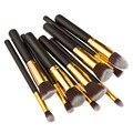 Tube profesional 10 unids pinceles de maquillaje set de oro mango negro herramientas de maquillaje colorete fundación pinceles de sombra de ojos