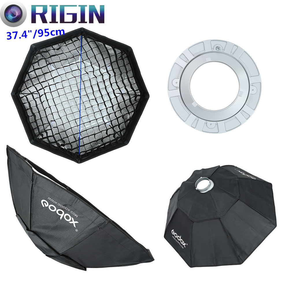 Godox Studio Flash Accessories Octagon Softbox 37.4/95cm Bowens Mount With the Gird for Studio Strobe Flash Light godox studio flash accessories octagon softbox 37 95cm bowens mount with the gird for studio strobe flash light