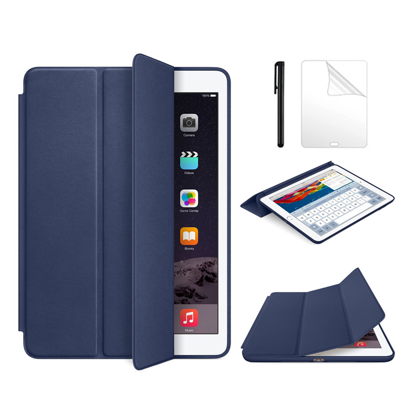 PU Leather Case For Apple ipad 6 Magnet Auto Sleep Stand Flip Leather Cover for iPad air 2 9.7 inch tablet case+Film+Pen