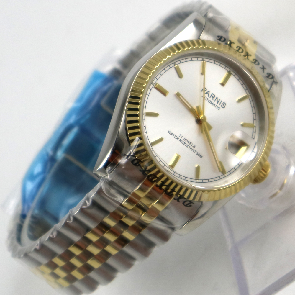 36mm white dial golden strap 21 jewels miyota automatic Luxurious mens watch 36mm debert golden dial 21 jewels miyota automatic diamond mens watch d11