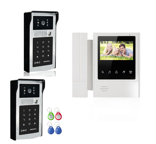 XINSILU Intercom Video Doorbell System Video Door Phone Kits 1XTouch Key LCD Color Monitor 4.3+2X Night Version FRID Cameras
