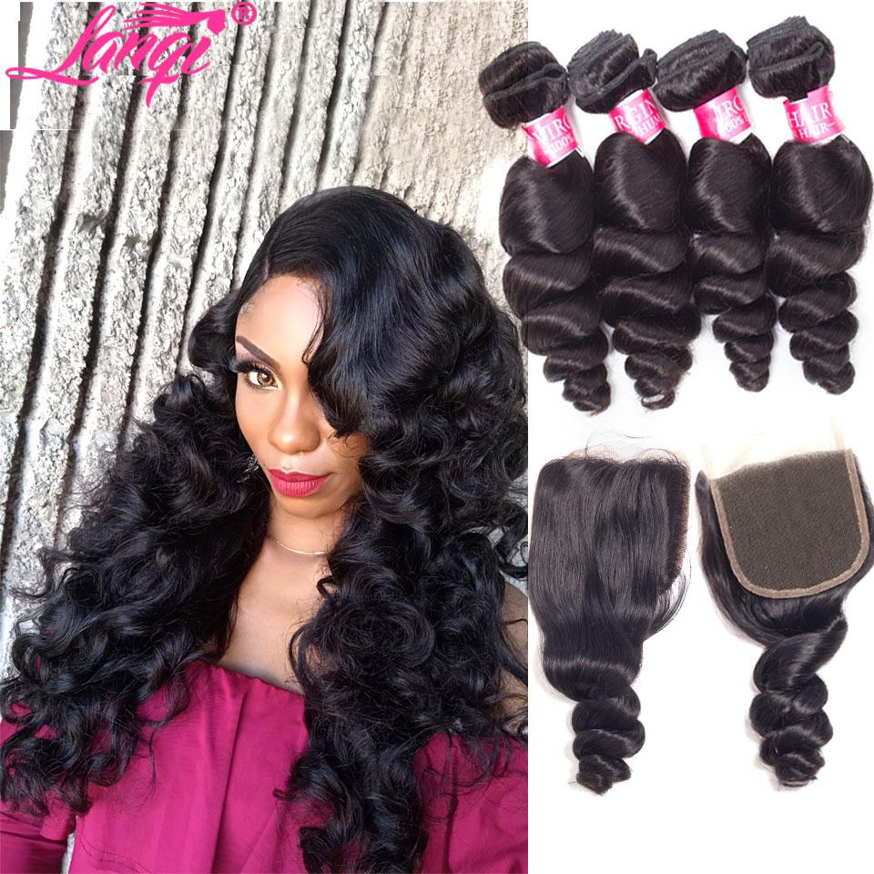 Brazilian loose wave 4 bundles with closure human hair bundles with closure Peruvian Brazilian hair weave bundles with closure