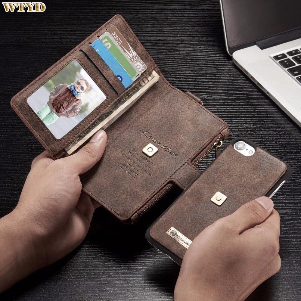 Цена за Для iPhone 7 Чехол Многофункциональный кожаный чехол со съемной магнитными ПК Назад Защитный чехол с 4 слота для карт