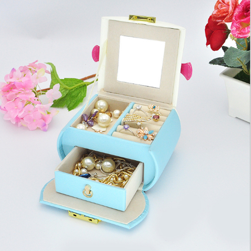 New Type Portable Jewelry Organize Lovely Candy Colors Jewelry Box For Girl Leather Ring Earrings Storage Box With Lock