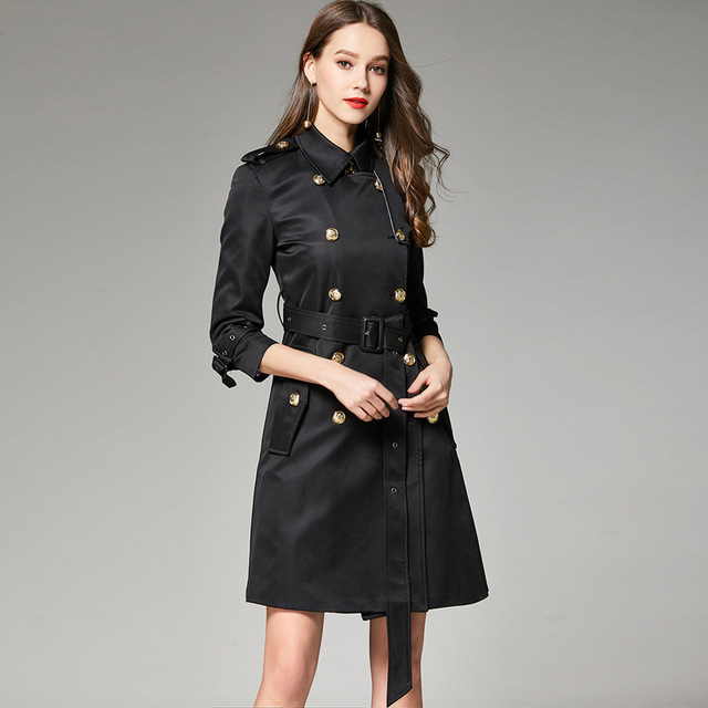 d921826081c0a 2019 Spring Autumn Black Long Trench Coat European Overcoat Double Breasted  Elegant Classic Windbreaker Female Clothes QH039
