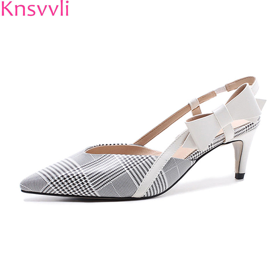 Knsvvli high heel shoes women bowknot checkered cloth kitten heel women sandals pionted toe slingbacks fashion women pumps