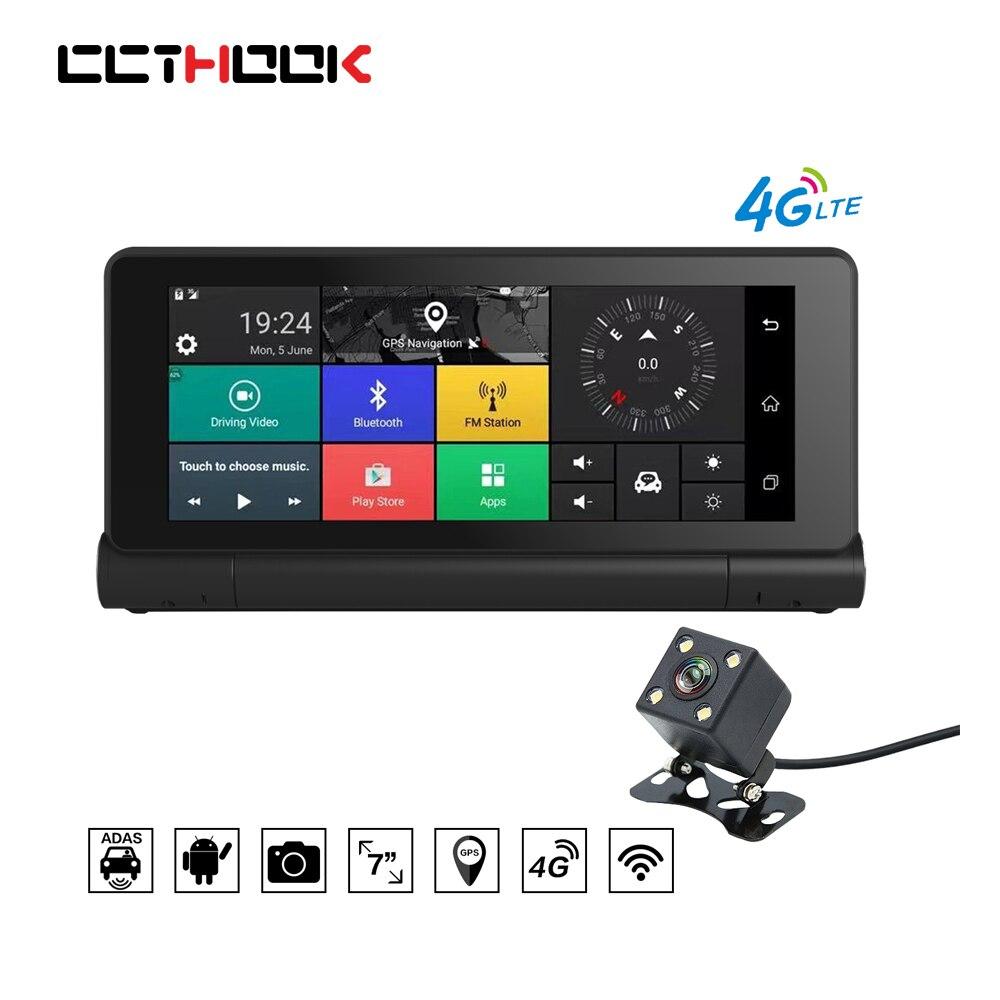CCTHOOK 7 inch Car DVR Digital Video Recorder Camera 4G ADAS GPS Navigation Android Bluetooth Dual Lens 1080P FHD WIFI Dash Cam