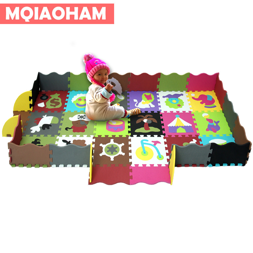 MQIAOHAM baby EVA Foam Play Puzzle Mat 16 or 18pcs/lot Interlocking Exercise Tiles Floor Carpet Rug for Kid,1cm/1.2 Thick soft cute letter eva foam baby toy puzzle play mat interlocking game exercise gym tile floor pad child kid 30x30x1 3cm 30pcs 22border