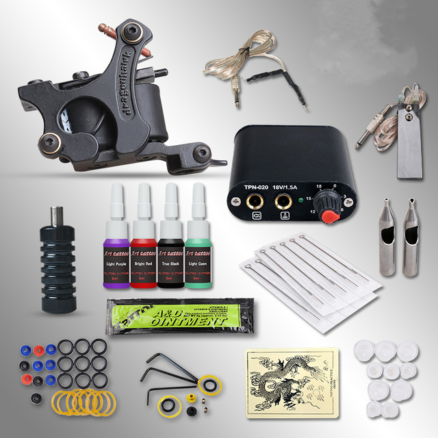 Complete Tattoo kits 8 wrap coils black guns machine 1/6oz 4 colortattoo ink sets power supply disposable needle+steel tips+cups