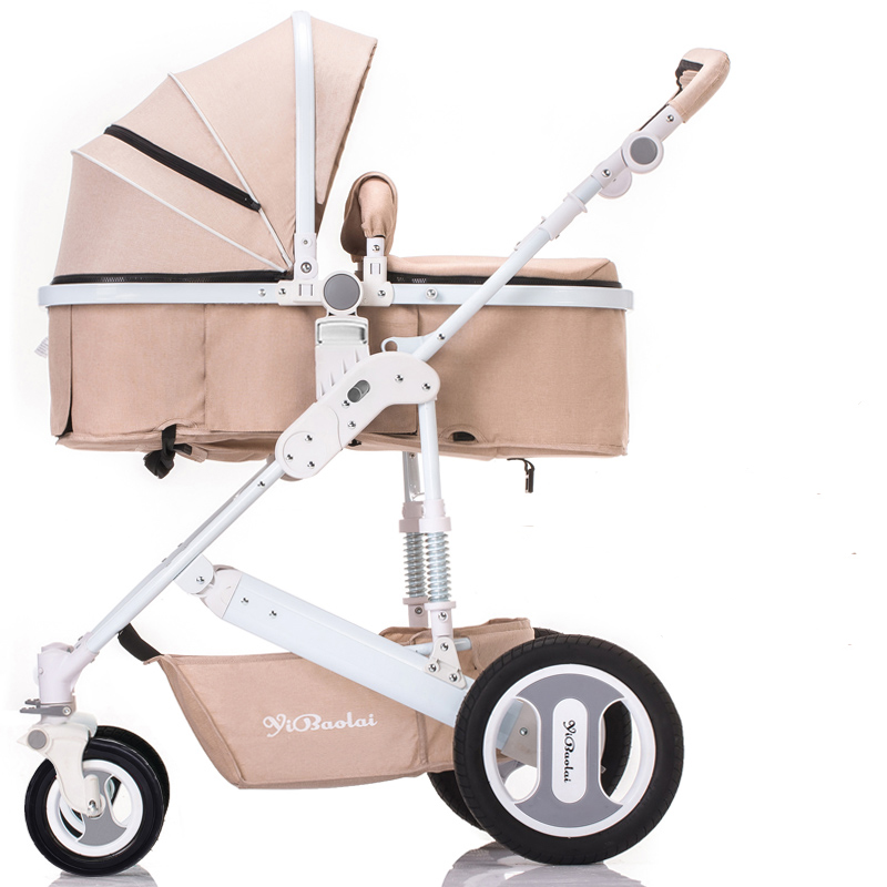 The latest products of high landscape baby stroller can sit and lie for winter and summer baby cart basket