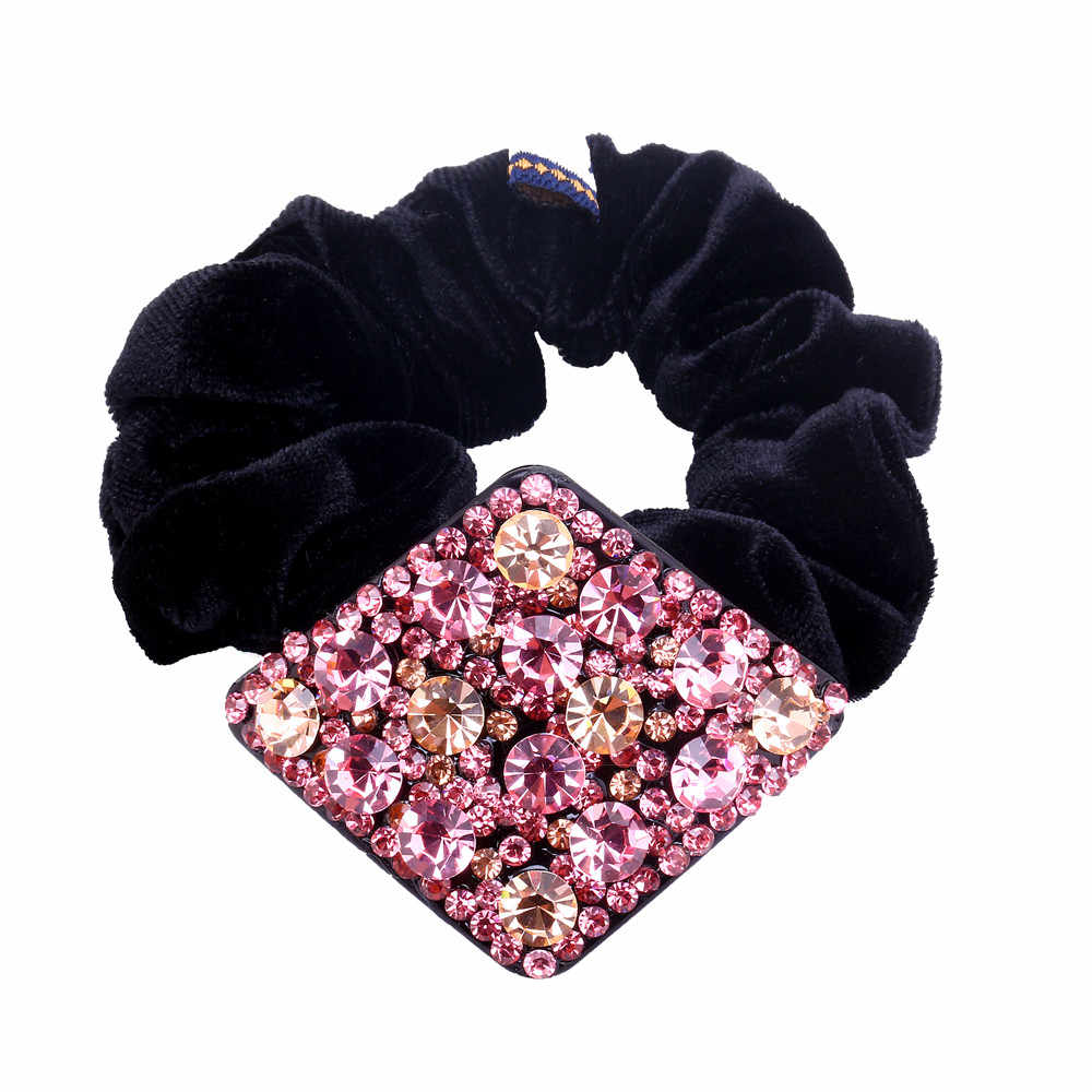 High Quality Rhinestone Hair Tie Pink Geometric Crystal Hair Rope Pony Hair Holder for Women Hair Accessories