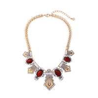 Fashion Red Resin Gem Geometric Maxi Necklace Online Shopping India Women Vintage Party Necklace Jewelry Collares