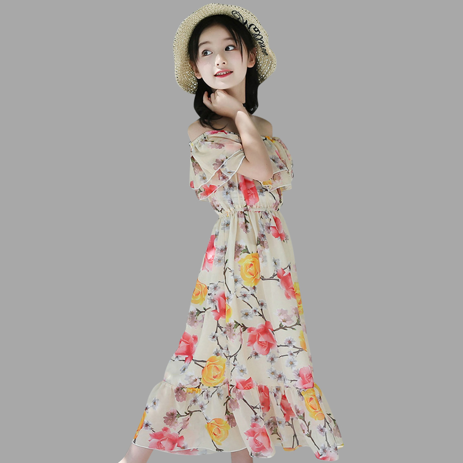 Ladies Costume Summer time Floral Youngsters's Attire Seaside Off Shoulder Child Attire Chiffon Youngsters's Clothes For Ladies three four 6 8 10 12