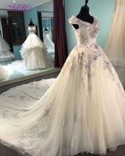 Melice Glamorous Appliques Flowers A-Line Princess Wedding Dress 2018 Sexy V-neck Lace Up Bohemian Wedding Gown Vestido de Noiva