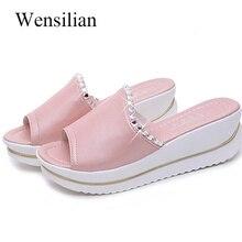 68440dd88ce3dc Summer Slippers Women Slides Crystal Ladies Flip Flops Beach Platform Shoes  Anti Slip Wedge Shoes Sandals