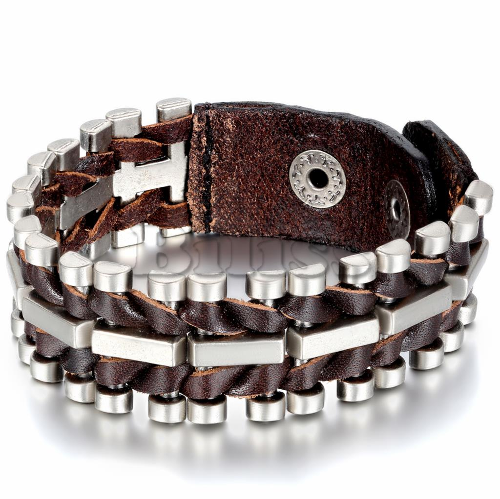 Brown Leather Bracelets Rock Punk Wide Cuff Bracelet Bike Bicycle Chain For Men  Jewelry Accessory Wholesale