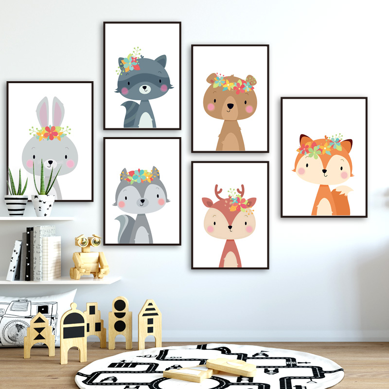 Cute Rabbit Fox Bear Deer Raccoon Nursery Nordic Posters And Prints Wall Art Canvas Painting Wall Pictures Baby Kids Room Decor-in Painting & Calligraphy from Home & Garden