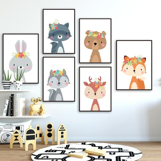 Sevimli tavşan tilki ayı geyik rakun kreş İskandinav posterler ve baskılar duvar sanatı tuval yağlıboya duvar resimleri bebek çocuk odası dekor