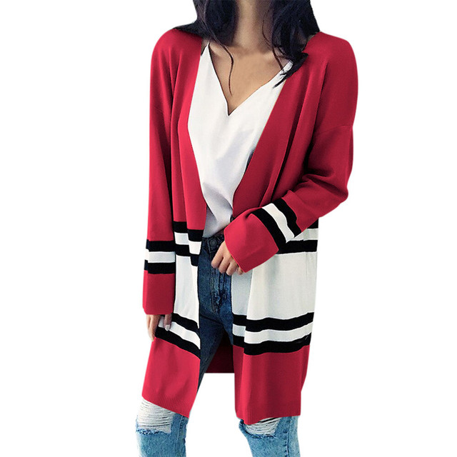 0c45a515d078 Women Coats 2017 Autumn Winter Long Sleeve Loose Casual Striped Sweater  Cardigan Coat Red blouson chaqueta veste hiver femme-in Trench from Women s  ...